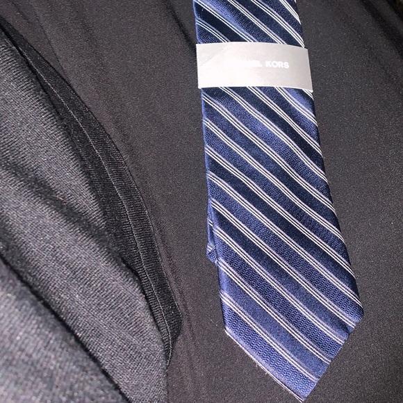 Michael Kors silk tie blue stripes new